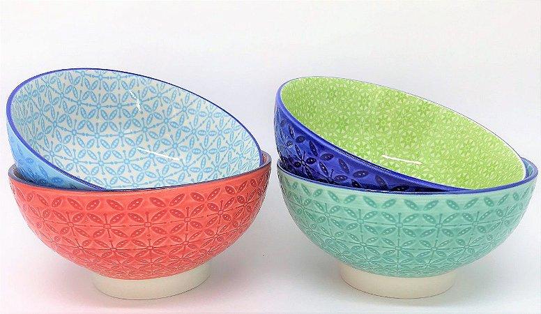 Conjunto de Bowls coloridos, em baixo relevo, 15 x 7,5cm - 4 pçs