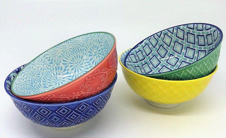 Conjunto de Bowls de Porcelana Alto Relevo - 12 x 6 cm - 4 peças