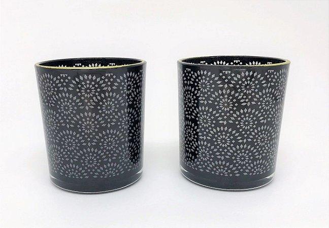Conjunto de Porta velas de vidro Renda - 8cm