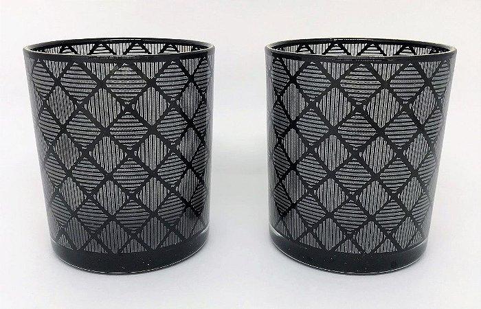 Conjunto de Porta velas de vidro Losangos - 10cm