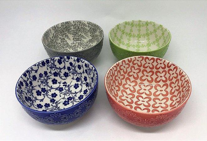Conjunto de Bowls de porcelana coloridos, Alto relevo - 13 x 7cm - 4 peças