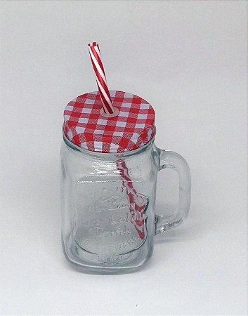 Caneca de vidro com tampa e canudo, Pique Nique Vermelho, 450ml