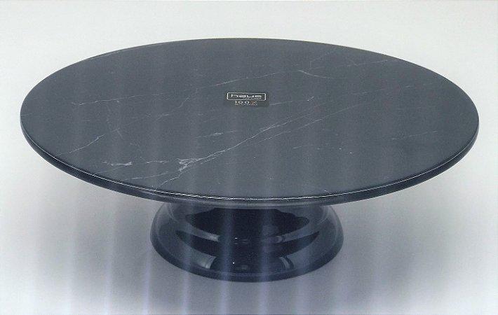 Prato para bolo de melamina preto mármore - pequeno - unidade
