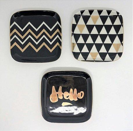 Conjunto de Pratinhos decorativos Hello - 12 x12cm - 3 peças