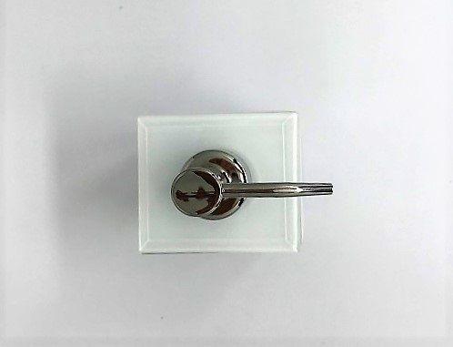 Porta sabonete líquido de vidro branco - 20 x 7 cm