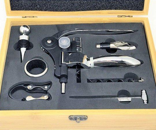 Kit de acessórios para vinhos, com estojo de bambu - 7 peças