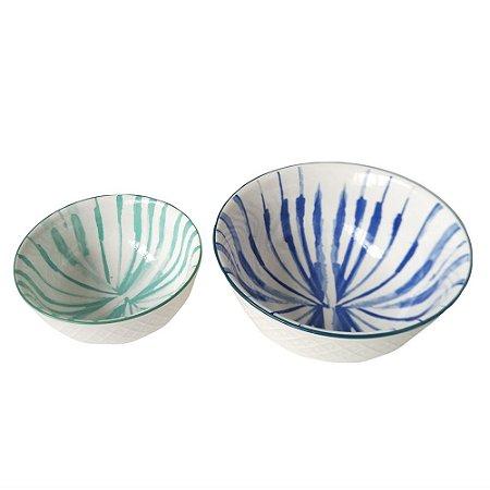Conjunto de Bowls de porcelana, verde e azul - 2 peças