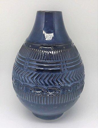 Vaso de Cerâmica Lapidado, Azul Lila - Baixo