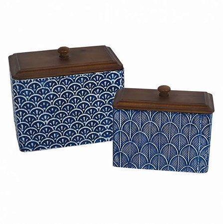 Conjunto de potes metal e madeira azul e branco