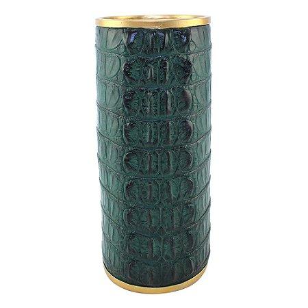 Vaso tipo crocodilo verde e dourado - 14,5 x 14,5 x 30 cm