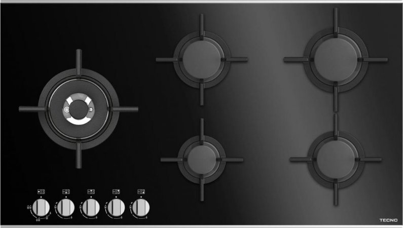 Cooktop a gás vitrocerâmico, 5 queimadores, Tecno, 220V - Tecno