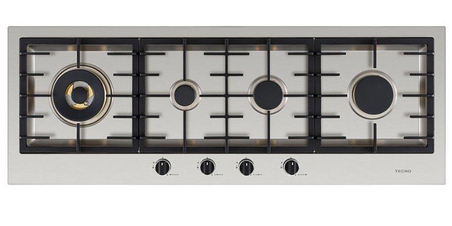 Cooktop a gás, inox escovado 110 cm x 40 cm - 4 queimadores com tripla chama lateral, 220V, Professional - Tecno