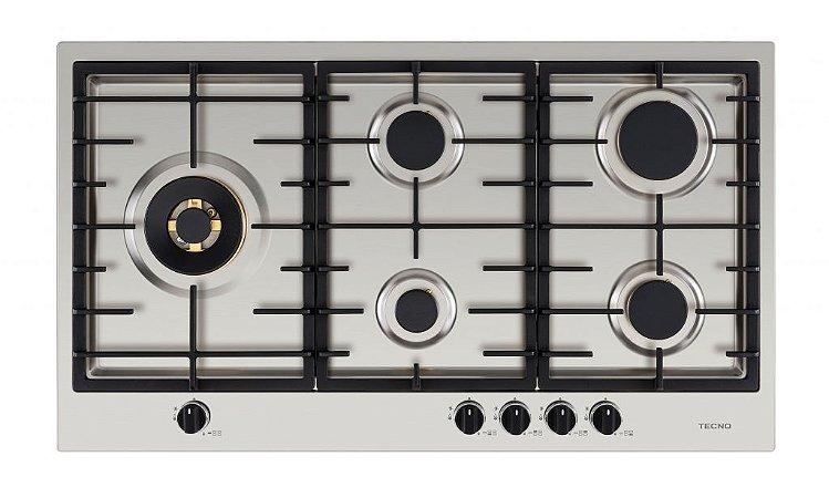 Cooktop a gás, inox escovado 89cm - 5 queimadores com tripla chama lateral, 220V, Professional - Tecno