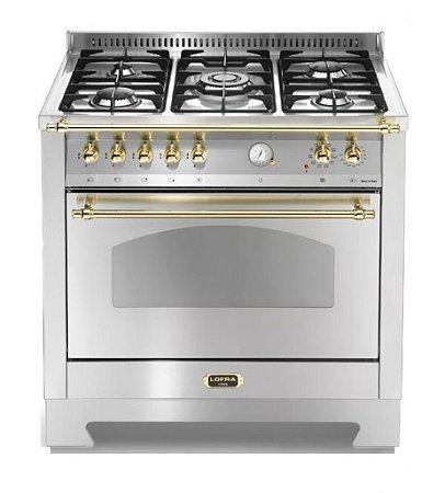 Fogão a gás Dolce Vita Inox, 5 queimadores, 90x60cm, 1 forno, 220V - Lofra