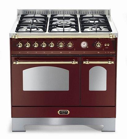 Fogão a gás Dolce Vita Vinho, 5 queimadores, 90x60cm, 2 fornos, 220V - Lofra