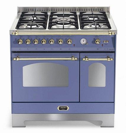 Fogão a gás Dolce Vita Azul Lavanda, 5 queimadores, 90x60cm, 2 fornos, 220V - Lofra
