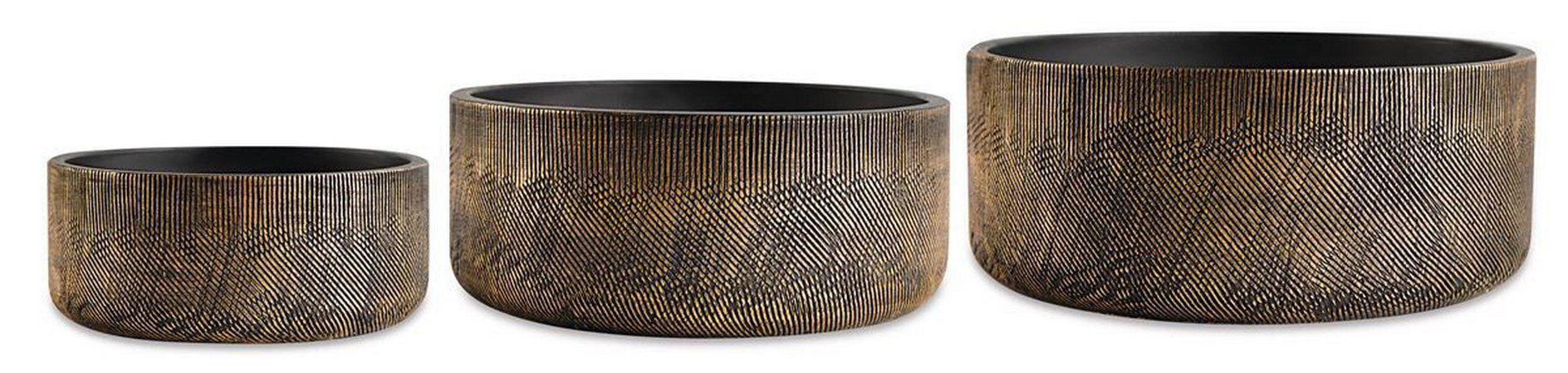 Conjunto de Vasos Preto e Dourado em Cimento - 3 peças