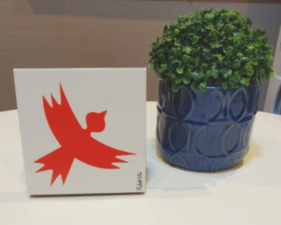 Azulejo Personalizado Artista Elizabeth Titon 15x 15 cm - Pássaro Laranja