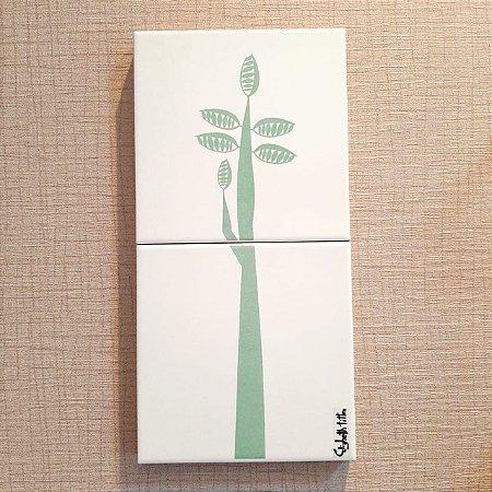 Azulejo Duplo Personalizado Elizabeth Titon 30 x 15 cm -Árvore Verde