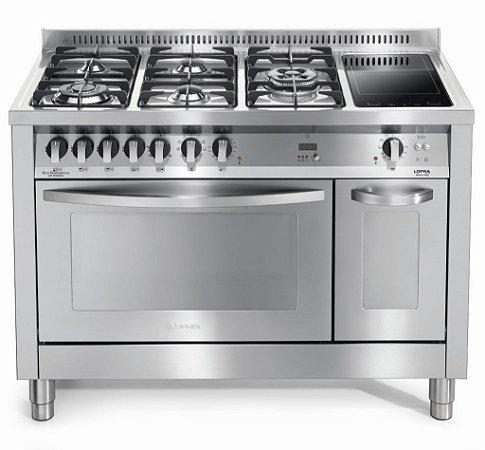 Fogão a gás professional inox escovado 7 queimadores, 120x60cm, Turbo forno elétrico - Lofra