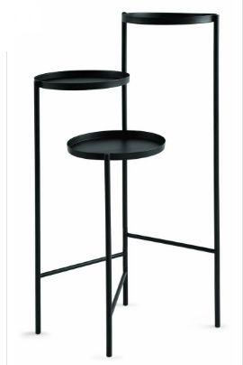 Mesa de apoio de metal preto  - Mart- 52x38x76 cm