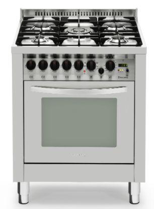 Fogão a gás professional inox escovado 5 queimadores, 70x60cm, Turbo forno elétrico - Lofra
