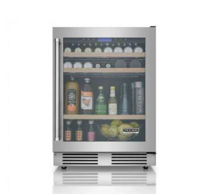 Frigobar de 136 litros, vidro triplo, piso ou embutir, LED, Inox, Frost Free, Alarme, 220V - Tecno