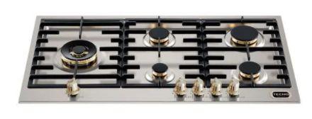Fogão de mesa a gás inox escovado 89cm 5 queimadores com tripla chama lateral Vintage - Tecno