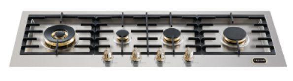 Fogão de mesa a gás inox escovado 110 cm x 40 cm 4 queimadores com tripla chama lateral Vintage - Tecno