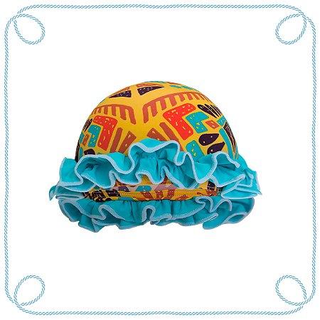 Touca de natação infantil - Étnico (com babados)
