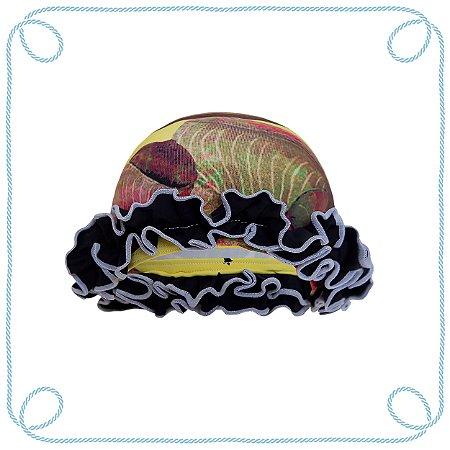 Touca de natação infantil - Estrela (com babados)
