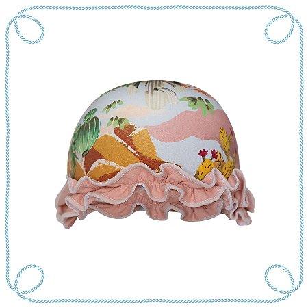 Touca de natação infantil - Cactos (com babados)