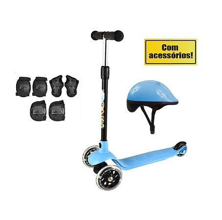 Patinete Radical Junior Acessórios Segurança Infantil 3 Rodas Altura Ajustável DM Toys