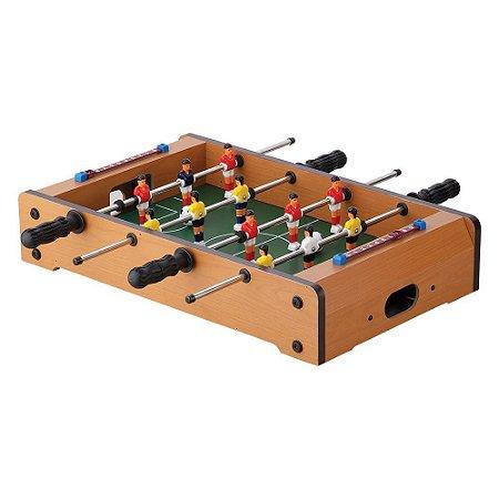 Totó Super Craque Pebolim Mesa de Futebol Portátil Infantil com 2 Bolas e Placar DM Toys DMT5081