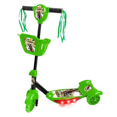 Patinete com Cesta Infantil 3 Rodas Menino Radical Dinossauro com Luz e Som DM Toys