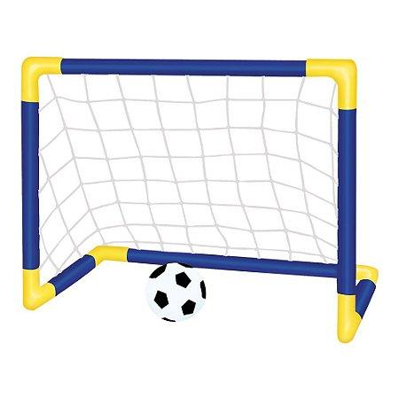 Kit Trave e Bola Infantil Chute a Gol com Rede Bomba Brinquedo Futebol