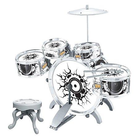 Bateria Musical Infantil Brinquedo Instrumento Rock Party Star com Pedal
