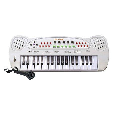 Teclado com Microfone Brinquedo Infantil Piano Musical HS-999 Educativo DM Toys