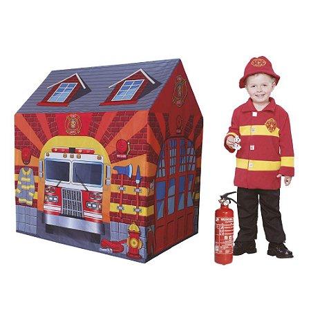 Barraca Estação de Bombeiro Tenda Cabana Infantil Toca Dm Toys