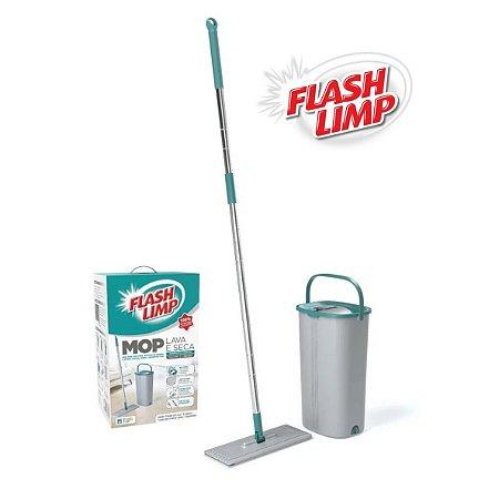 Mop Lava e Seca Com Balde Esfregão Microfibra Flash Limp MOP7740