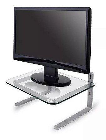 Suporte Monitor Office Base Apoio para Mesa Ergonomico 3 Niveis Altura NR17 Reliza Prata Incolor