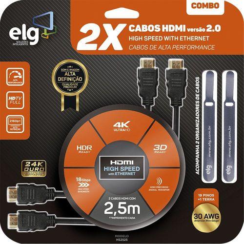 Combo Cabos HDMI 2.0 High Speed com Ethernet 2,5m cada c/ Organizadores HS2525 ELG