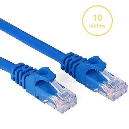 Cabo de Rede 10 Metros Internet RJ45 Cat 5E Lan Crimpado Azul