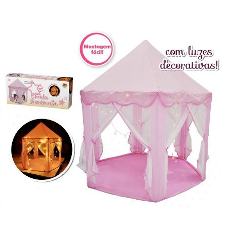 Tenda Iluminada Infantil Rosa Barraca Toca Grande Meninas com Luzes Decorativas DM Toys DMT5875