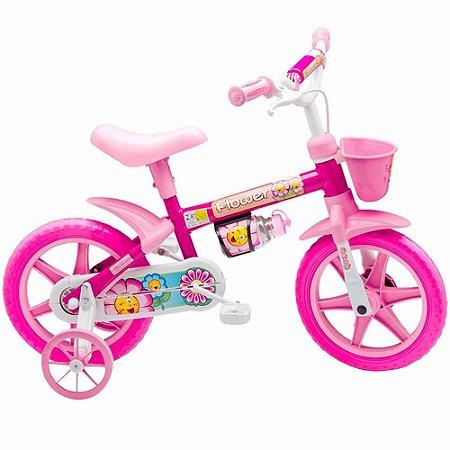 Bicicleta Infantil Feminina Rosa Menina Flower Aro 12 Nathor