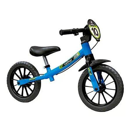 Balance Bike Masculina 03 Bicicleta de Equilibrio Aro 12 Sem Pedal Azul Nathor
