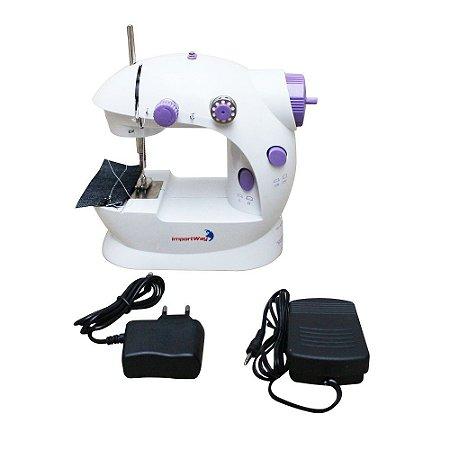 Mini Máquina de Costura Portátil Elétrica Bivolt Pilha Luz Led Compacta Doméstica Importway IWMC-507