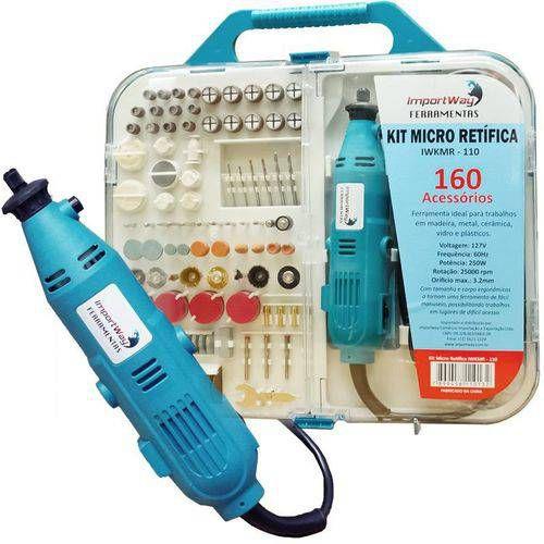 Kit Micro Retifica com Maleta 160 Peças Mini Retifica Acessórios 250w IWKMR