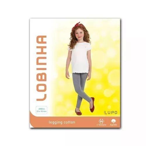 Calça Legging Cotton Infantil Lobinha Preta