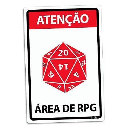 Atenção área de rpg - Placa Decorativa